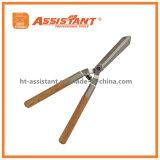 A gota forjou tesouras retas da conversão da lâmina com os punhos de madeira da cinza