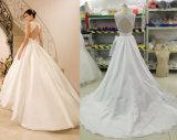 Venda quente uma linha vestido de casamento do cetim com parte traseira do buraco da fechadura