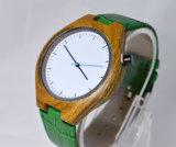 Vigilanza di legno di marchio di verde del Wristband su ordinazione del cuoio genuino