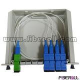 divisor de fibra óptica do PLC 1X4 na caixa plástica de Lgx