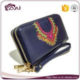 女性のための高品質のハンドメイドの中国の財布、刺繍が付いている二重ジッパーの札入れ