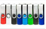 Regalo promocional creativo para el disco de destello del USB del eslabón giratorio de la impresión de la insignia