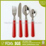Cuillère et fourche en plastique de vaisselle plate de traitement coloré d'acier inoxydable