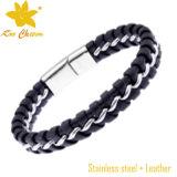 Neues Form-Edelstahl Locket-Leder-Armband