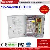 12V 5A 9CH Ausgabe CCTV-Kamera-Schaltungs-Stromversorgung