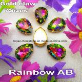 Стеклянные бусины с когтем шьют на Rhinestone ювелирных изделий для диаманта установки ожерелья (цвет SW-овальных/прямоугольника радуги)