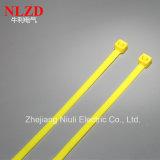 2017 связей кабеля нового желтого цвета конструкции Nylon/упаковка OEM поддержки связей застежка-молнии
