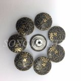 Вспомогательное оборудование одежды гравирует кнопку металла Jean сердечника цветка резиновый