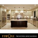Armadio da cucina di lusso di legno solido con l'abitudine classica Tivo-0219h di disegno delle sculture