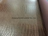 Cuoio d'imitazione del PVC del velluto del cotone per la signora Bag/sofà/mobilia con il disegno del coccodrillo