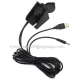 2 m USB 2.0 et 3,5 mm 1/8 Car Dashboard Flush Mount Audio Aux Extension Cable Lead