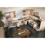 Gabinetes de cozinha econômicos da melamina com os gabinetes do assoalho e de parede