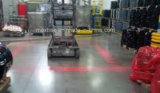 フォークリフトの赤いゾーンの警報灯