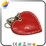 Forma bonito do coração e corrente chave do metal de couro de Diamante