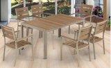 9 pedazos del escritorio de madera plástico de la silla del conjunto al aire libre determinado de los muebles