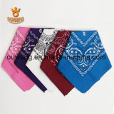 """O lenço relativo à promoção do lenço barato do quadrado da forma personalizou o algodão 100% impresso do Bandana de Paisley (22 """" *22 """")"""