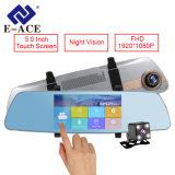 Coche dual DVR del monitor del estacionamiento de la lente del espejo de Rearview de la pantalla táctil de 5 pulgadas