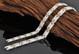 Acciaio inossidabile e braccialetto di ceramica di collegamento per la signora con il cristallo