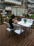 백색 접의자, 4FT 접히는 장방형 테이블, 정원 테이블 세트