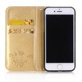 Caixa gravada do couro da carteira da borboleta da tampa da caixa do telefone de pilha pressão magnética para o iPhone 7 mais 6