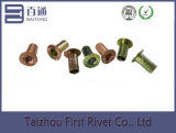 10X20mm Zinc / Copper Plated Flat Full Tubular Steel Rivet