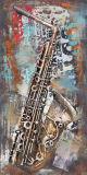 Картина искусствоа стены металла 100% покрашенная рукой с саксофоном