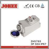 Soquete de IP67 3p 32A com interruptores e bloqueio mecânico