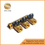 """Múltiple de cobre amarillo para el agua con conexiones de la entrada 4 del 1/2 """""""