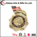Placa de ouro Metal 3D Tree Leaf Shap Badge como presentes