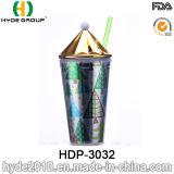 يحرّر [ببا] ترويجيّ بلاستيكيّة عصير برميل دوّار فنجان مع تبن ([هدب-3032])