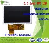 """étalage de TFT LCD de 5.0 """" 800X480 RVB, 40pin pour la position, sonnette, médicale, véhicules"""
