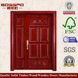 Porte d'entrée secondaire primaire en bois solide de Sapele (GSP1-022)