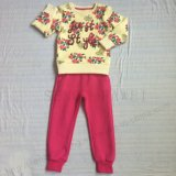Chica Fleece Niños estampado de flores de 2 PCS adapta a la ropa de Childen Vestimenta deportiva SQ-6213