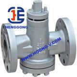 Válvula de plugue da flange do aço inoxidável da maneira 304 de API/DIN/JIS três