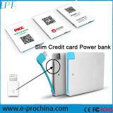 Carregador magro personalizado do banco da potência do cartão de crédito 2600mAh para a promoção