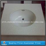 Tapas artificiales baratas dirigidas de la vanidad del cuarto de baño de la piedra del cuarzo, encimeras