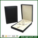 Rectángulo de joyería plástico de cuero de la PU del negro de encargo