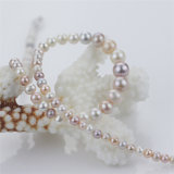 collar multicolor de lujo simple graduado redondo cercano de la perla de 3-9m m