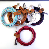 Cable de cuero del USB de la transmisión de datos de la carga de la PU Syne del relámpago para el iPhone