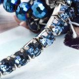 Браслеты 6PCS/Set стренги камня Rhinestone сини военно-морского флота Богемии эластичные