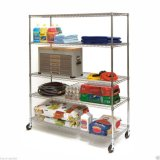 Memoria mobile Metal Wire Shelving/Shop Display Rack con Wheels (HD244872A5CW)