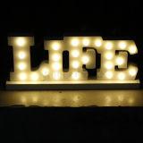 白い木の文字LEDの玄関ひさしの印のアルファベットは夜を照らす