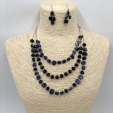 Lagen Beads en Chain Necklace en Jewelry Set met Red Stone door Handcraft