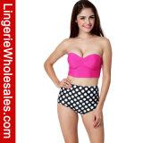 Swimwear обруча МНОГОТОЧИЯ польки Waisted Бикини повелительниц двухкусочный высокий сексуальный
