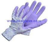 Nylon de 13 mesures/doublure de coton/Spandex, enduit de latex, gant de fini de mousse