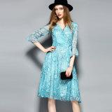 Платье втулки слойки флористическое напечатанное шикарное для женщин с поясом