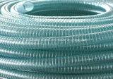 Câmara de ar transparente desobstruída verde da espiral do fio de aço do PVC do plástico para a mangueira industrial da água de irrigação