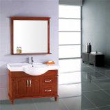 Assoalho por atacado que está o gabinete de banheiro de madeira com espelho