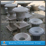 G682 Yellow / Brown Granite Stone Flower Pot para ornamento de jardim