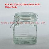 recipiente de vidro do armazenamento de vidro quadrado do frasco do alimento 700ml com a tampa de vidro do selo